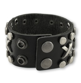 Black Industrial Bonded Leather Bracelet Wristband