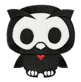 Embroidered Skelaton Owl Patch Badge Iron / Sew On Owl Skull Owl Skelaton