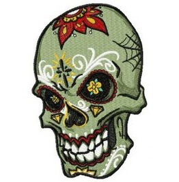 Embroidered Tatooed Skull Patch Iron / Sew On Day Of The Dead Skull