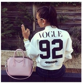 New Fashion Letter Number Print Women Baseball Jackets
