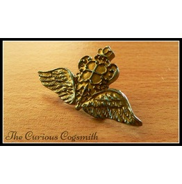 Gold Winged Crown Brooch