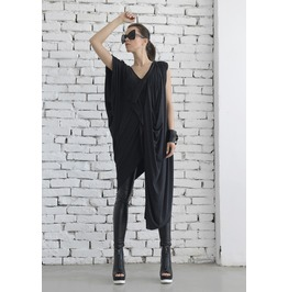 Oversize Dark Grey Loose Casual Top/ Asymmetric Long Tunic/ Maxi Blouse