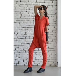 Red Casual Jumpsuit/Oversize Summer Suit/Short Sleeve Loose Tunic/Red Harem