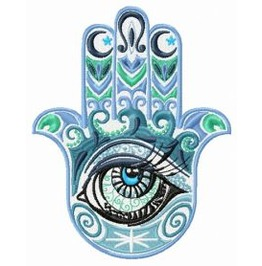 Embroidered Ornate Hamsa Hand Patch With Eye Patch Iron/Sew On