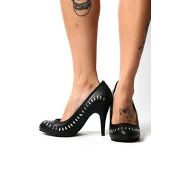 Tuk Black Monster Stitch Vegan Gothic Punk Stiletto Heels $15 To Ship