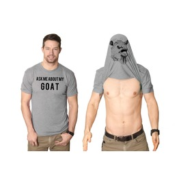 Mens Ask Me About My Goat Flip Shirt. Awesome Costume For Guys.