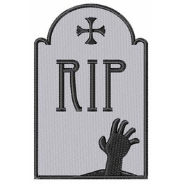 Embroidered Rip Tombstone Gravestone Patch Iron/Sew On