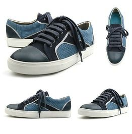 Royal Blue Tone And Tone Lace Up Sneakers, Shoes 258