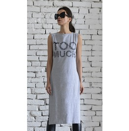 Long Grey Loose Tunic/Loose Print Summer Top/Extravagant Slit Dress