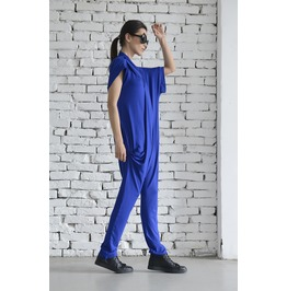 Royal Blue Summer Jumpsuit/Loose Harem Pants/Blue Maxi Jumpsuit/Casual Suit