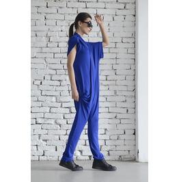 Royal Blue Summer Jumpsuit/Loose Harem Pants/Blue Maxi Jumpsuit/Casual Suit