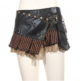 Steampunk Punk Cyber Rave Free Size Black Mini Skirt