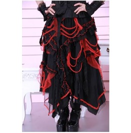 Burlesque Lolita Gothic Goth Victorian Lace Up Black And Red Long Skirt