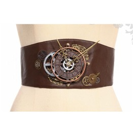 Steampunk Victorian Burlesque Corset Style Brown Clock Belt By Rq Bl