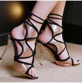 Gothic Womens Strappy High Heels Open Toe Sandals Vintage Pumps Shoes