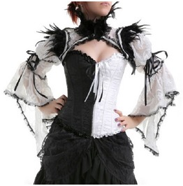 Gothic Goth Burlesque Vintage Black And White Shrug Shoulder Bolero Jacket