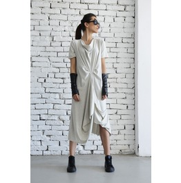 Light Grey Casual Dress/Asymmetric Loose Tunic/Short Sleeve Long Top