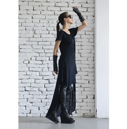 Black Long Top/ Asymmetrical Tunic/ Short Sleeve Top/ Extravagant Black