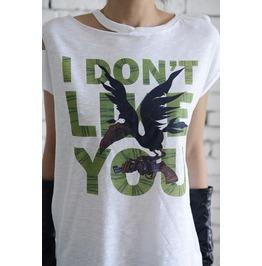 Torn Off T Shirt/Grey Print Top/Character Shirt/Loose Short Sleeve Top