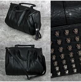 Croc Pattern Leather Big Tote With Studded Foot, Bag 60