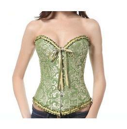 ba3283280fa Plus Size Boned Lace Corset Women Lingerie With G String M3002 Green