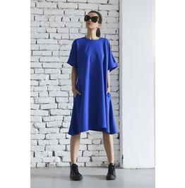 Royal Blue Over The Knee Dress/Short Sleeve Maxi Dress/Spring Kaftan