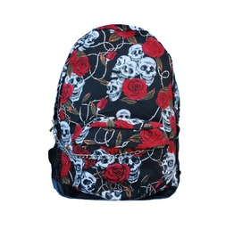 Skull And Rose Backpack Rucksack Bag With Chain