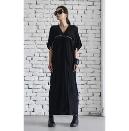 Maxi Black Dress / Long Plus Size Dress / Short Sleeve Black Kaftan /