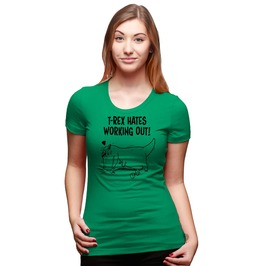 Womens T Rex Hates Working Out Push Up Tee. Funny Dinosaur Shirt.