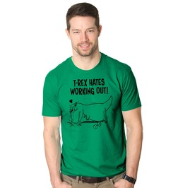 Mens T Rex Hates Working Out Push Ups T Shirt. Mens Dinosaur Shirt.