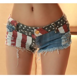 New Summer Tide Women Worn Hole American Flag Denim Short Nightclub Ladies