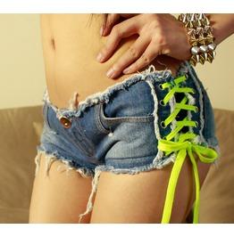 New Nightclub Bar Show Fashion Slim Thin Low Waist Denim Shorts