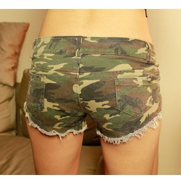 Summer New Sexy Nightclub Tide Camouflage Worn Women's Denim Shorts