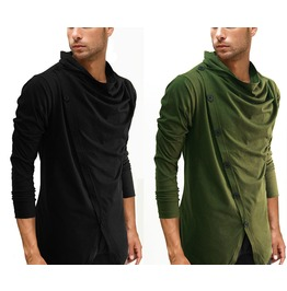 New Black Green Diagnal Front Buttton Down Long Sleeve Casual Soft Shirt