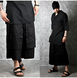 Double Layer Accent Wide Black Ankle Sweatpants 177