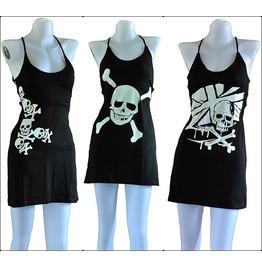 Mini Dress Punk Goth Skull Gothic Halter M Rockabilly Beach Black