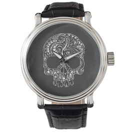 Skull Black Vintage Leather Watch Quartz®