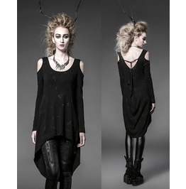 Punk Gothic Rock Black Long Cardigan Tee Shirt Top Visual Kei Women Fashion