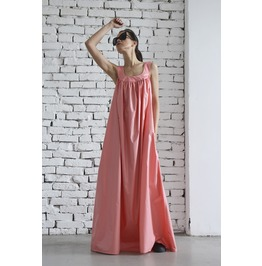 Soft Pink Maxi Dress /Peach Loose Kaftan/Long Loose Dress/Round Neck Dress