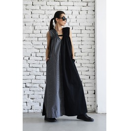 New!Long Maxi Dress/Two Half Extravagant Kaftan/Black And Grey Pocket Dress