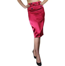 Burgundy Satin Pencil Skirt