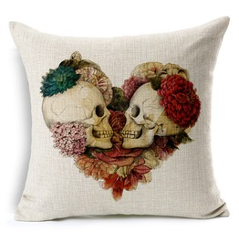 Rose Heart Shaped Skull Lovers Pillow Cushion Car Cushion