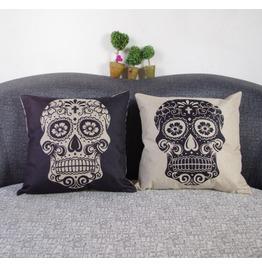 Skull Synthesis Linen Cushion Sofa Pillow Car Nap Pillow Fabric Pillow
