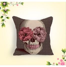Punk New Cotton Classic Skull Flowers Cotton Pillow