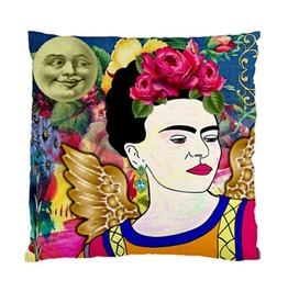 Frida Kahlo With Wings Smiling Moon And Vintage Flower Cushion Cover