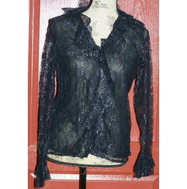 Frilly Black Lace Blouse
