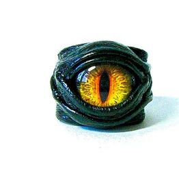 Dragon eye adjustable genuine leather ring costumes halloween ring rings