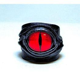 Dragon eye adjustable leather ring statement ring evil eye ring horror rings