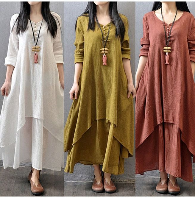 f6cfa53606f5 Peasant Ethnic Boho Cotton Linen Long Sleeve Maxi Dress | RebelsMarket