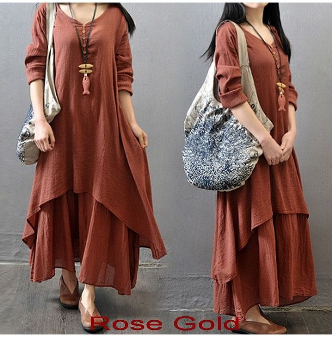 8cd4099414a6 Peasant Ethnic Boho Cotton Linen Long Sleeve Maxi Dress Gypsy Blouse Shirt